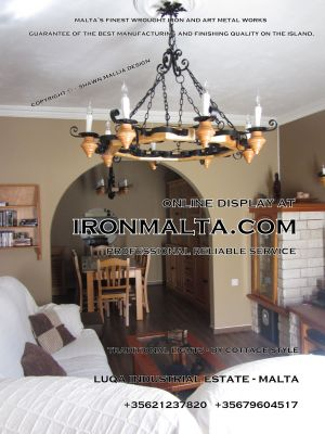 malta wrought iron metal wood chandeliers lights ideally for house of characters,  farmhouses and town houses 2